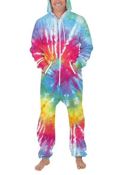 Fashion Tie Dye 3D Digital Printed Long Sleeve Drawstring Pocket Zip Up Loose Fit Hooded Sweatshirt Jumpsuit