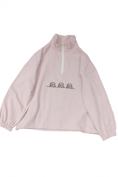 Leisure Womens Dog Embroidered Long Sleeve Stand Collar Zip Up Loose Fit Pullover Sweatshirt