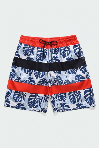 Mens Shorts Creative Contrasted All-over Leaf Pattern Quick-Dry Knee-Length Drawstring Waist Regular Fitted Relaxed Shorts