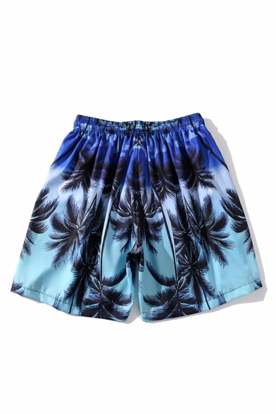 Novelty Mens Shorts Contrasted Coconut Tree Pattern Drawstring Waist Regular Fitted Relaxed Shorts