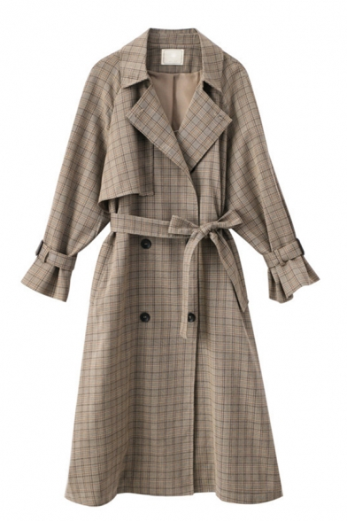 Plaid Printed Notched Lapel Collar Long Sleeve Double Breasted Tie Waist Trench Coat