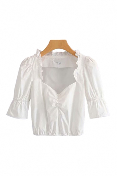 Simple Girls White Short Sleeve Sweetheart Neck Stringy Selvedge Ruched Regular Fit Crop Blouse Top