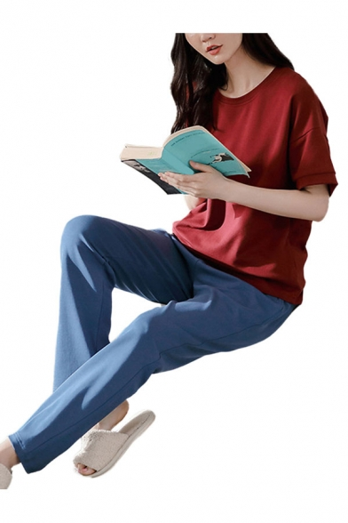 Simple Womens Solid Color Crew Neck Short Sleeve Loose Fit T-Shirt & Pocket Ankle Length Pants Pajama Set in Red