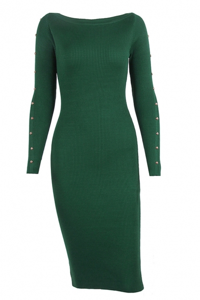 Stylish Solid Color Studded Boat Neck Long Sleeve Midi Bodycon Sweater Dress for Women