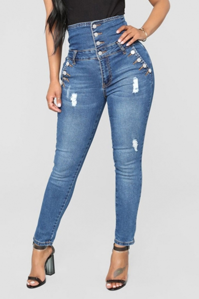 Women's Fancy Jeans Frayed High-rise Pockets Full Length Button Closure Medium Wash Skinny Jeans