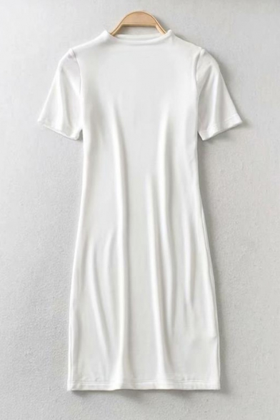 Womens Chic Plain Short Sleeve Mini Fitted T-Shirt Dress