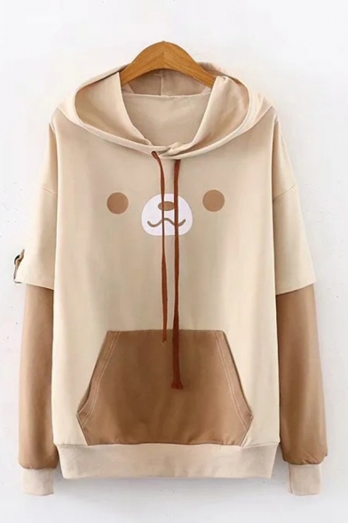 Womens Creative Hoodie Contrasted Cartoon Face Emoji Pattern False Two Pieces Cuffed Drawstring Long Sleeve Relaxed Fitted Hoodie