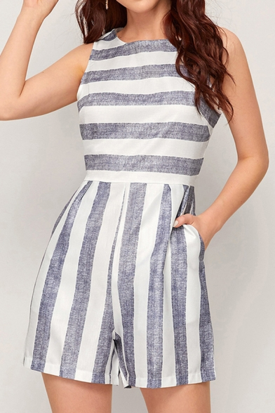 Womens Jumpsuits Stylish Striped Printed Round Neck Regular Fitted Sleeveless Rompers