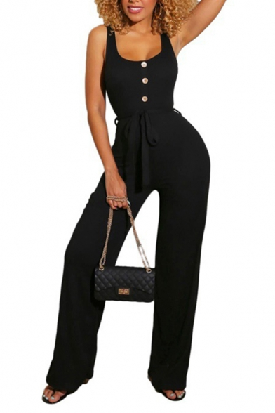 Womens Jumpsuits Trendy Plain Button Detail Bow Sleeveless Scoop Neck Loose Fitted Jumpsuits