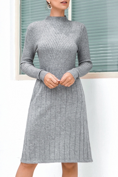 Casual Solid Color Mock Neck Long Sleeve Midi A-Line Sweater Dress for Women