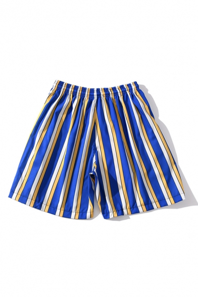 Classic Mens Shorts Striped Printed Drawstring Waist Regular Fitted Relaxed Shorts