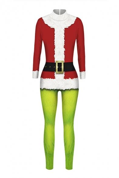 Cool 3D Jumpsuit Christmas Coat Leaf Belt Color Block Pattern Drawstring Pocket Zipper Ankle Length Long-sleeved Skinny Fit Hooded Jumpsuit for Women