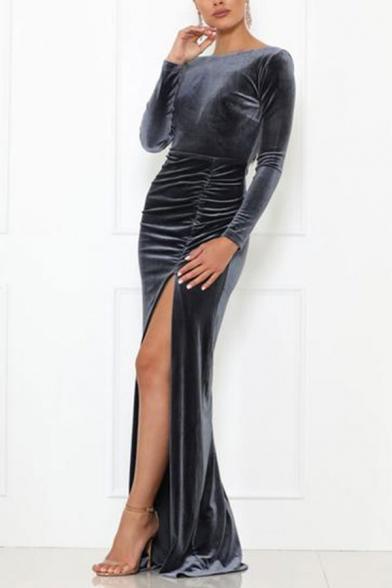 Elegant Ladies Plain Velvet Long Sleeve Round Neck Backless High Cut Maxi Tight Dress