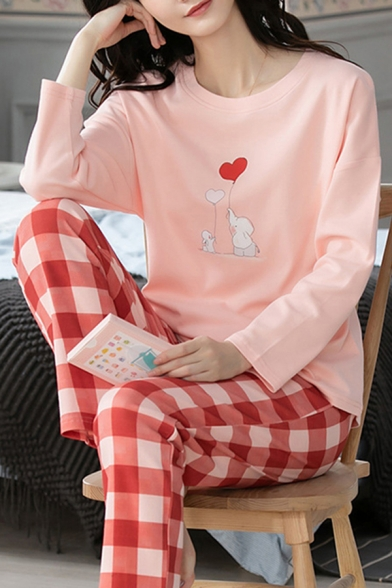 Fancy Womens Cartoon Print Long Sleeve Crew Neck Relaxed T Shirt & Checkered Print Straight Pants Pajamas Set in Pink