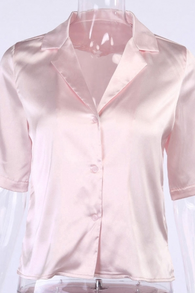 Formal Ladies Satin Short Sleeve Lapel Neck Button-up Relaxed Plain Shirt Top