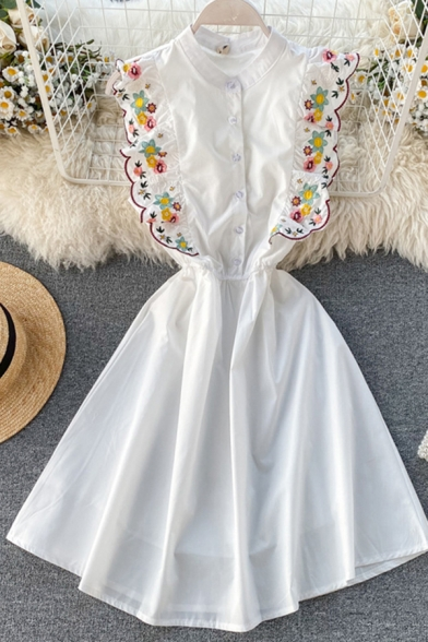 Lovely Girls Floral Embroidery Waisted Button Stand Collar Ruffle Sleeve Short A-line Dress