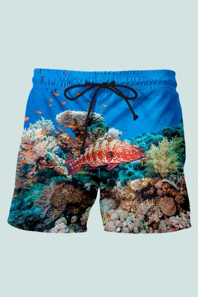Mens 3D Chic Shorts Animal Fish Colorful Coral Pattern Pocket Drawstring Mid Waist Mid Thigh Regular Fitted Relax Shorts