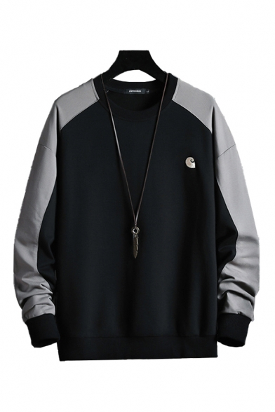 Mens Pullover Sweatshirt Simple Wave Pattern Round Neck Cuffed Long Contrasted-Sleeve Regular Fit Pullover Sweatshirt