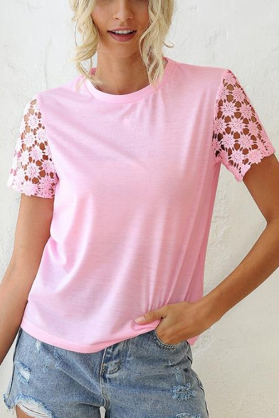Pretty Ladies Short Sleeve Round Neck Plain Hollow Panel Relaxed Blouse Top in Pink
