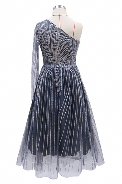 Pretty Metallic Single Sleeve Mesh Mid Pleated Swing Gown in Silver