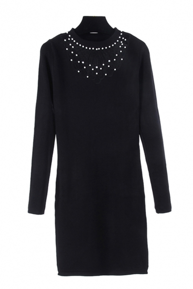 Pretty Womens Solid Color Beaded Decorated Cut Out Front Mock Neck Long Sleeve Mini Bodycon Sweater Dress in Black
