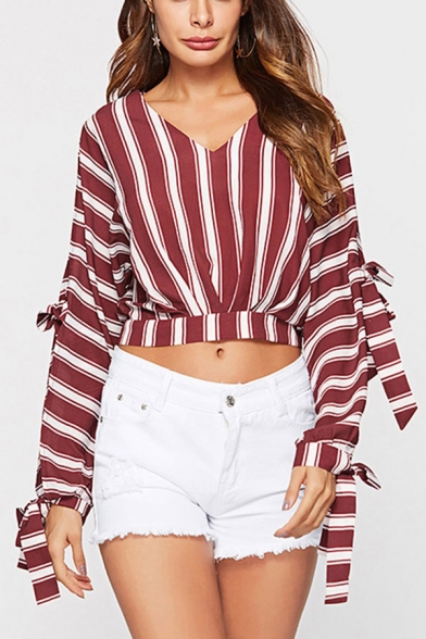 Red Trendy Womens Striped Print V Neck Tie Long Split-Sleeve Fitted Crop Blouse Top
