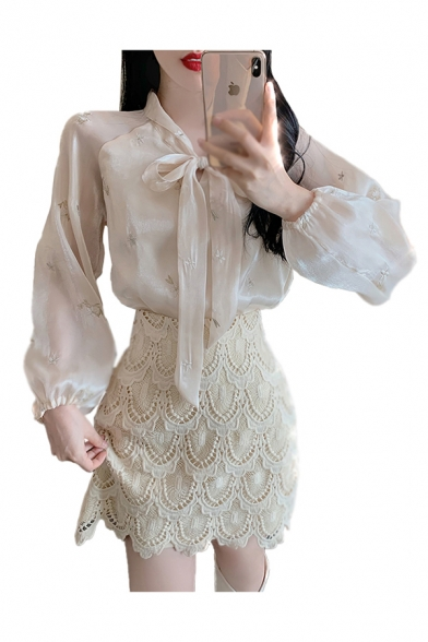 Stylish Embroidered Blouson Sleeve Bow Tied Neck Relaxed Fit Shirt Top in Apricot