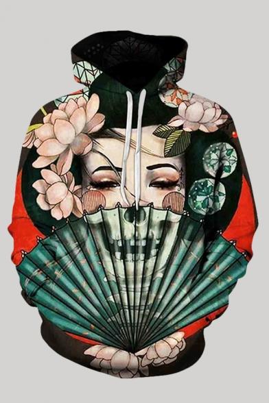 Stylish Hooded Sweatshirt Floral Fan Leaf Ghost Face Skull Abstract 3D Printed Drawstring Pocket Regular Fit Full Sleeve Hooded Sweatshirt for Men