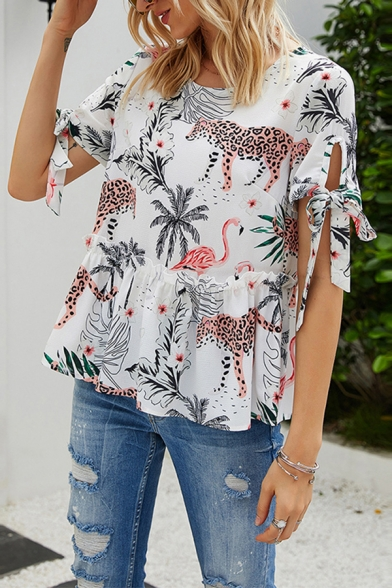 Stylish Womens All Over Leopard Tree Printed Bow Tied Short Sleeve Round Neck Ruffled Loose Fit Blouse Top in White