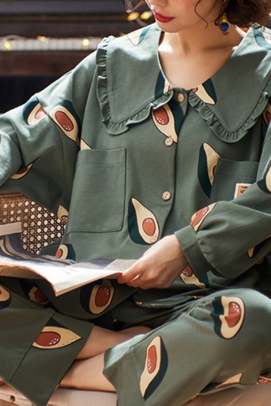 Trendy All Over Avocado Printed Long Sleeve Shirt & Straight Pants Pajamas Set in Green