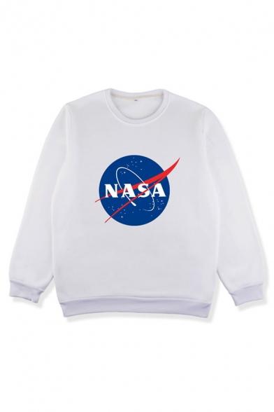 Trendy Round Neck Long Sleeve NASA Print Pullover Sweatshirt