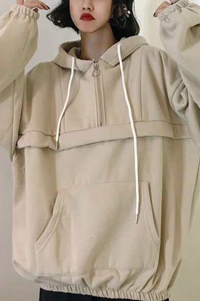 Trendy Womens Solid Color Kangaroo Pocket Patchwork Half Zipper Drawstring Hooded Long Sleeve Loose Hoodie