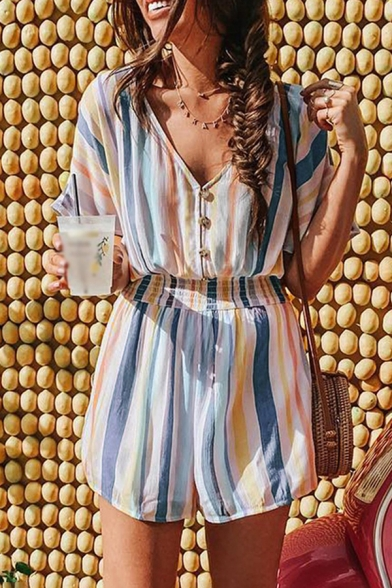 Vintage Womens Rompers Colorblock Striped Printed Shirred Waist Button Detail V-Neck Loose Fitted Sleeveless Rompers