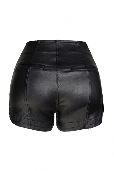 Basic Womens Shorts Black Solid Color PU Leather Oblique Zipper Split Hem Regular Fitted Relaxed Shorts