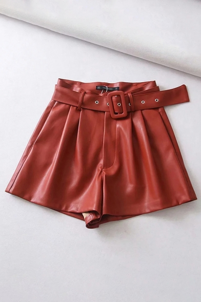 Basic Womens Shorts Solid Color Buckle Belted Zipper Fly Loose Fitted A-Line PU Shorts