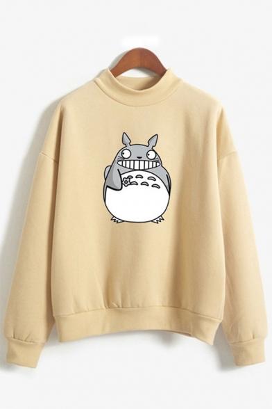 Cartoon Totoro Printed Mock Neck Long Sleeve Loose Fit Pullover Sweatshirt