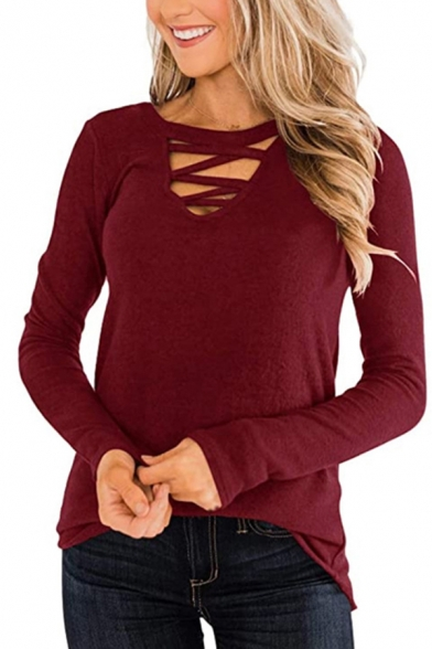 Chic Womens Solid Color Hollow Out Criss-Cross Front V Neck Long Sleeve Loose Blouse Top