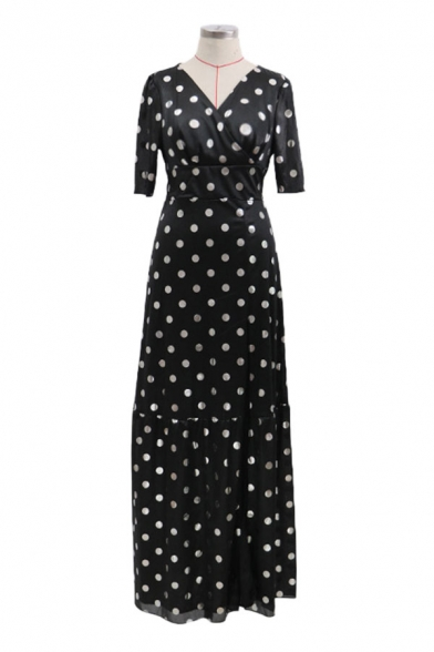 Elegant Ladies Polka Dot Printed Puff Sleeve V-neck High Cut Ruffled Maxi Flowy Dress in Black