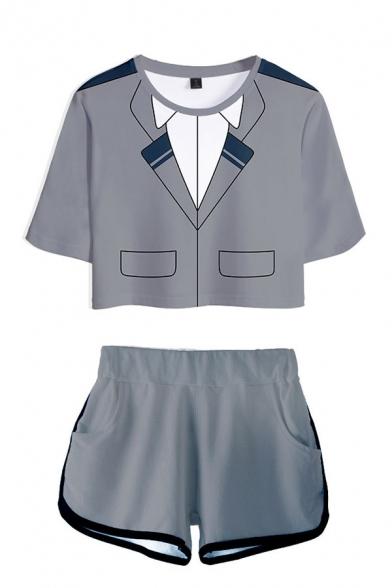 Fashionable Ladies Anime My Hero Academia Flame Letter Shoto Print Short Sleeve Round Neck Loose Fit Crop T-Shirt & Elastic Waist Shorts Set