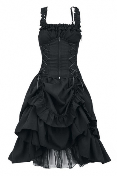 Retro Ladies Solid Color Stringy Selvedge Straps Zip Up Lace-up Tiered Midi Flared Tank Dress