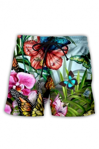 Retro Mens 3D Shorts Butterfly Flower Leaf Pattern Regular Fitted Drawstring Waist Relaxed Shorts