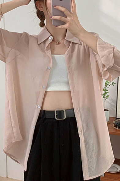 Simple Solid Color Single Breasted Turn-down Collar Long Sleeve Relaxed Fit Tunic Shirt for Women