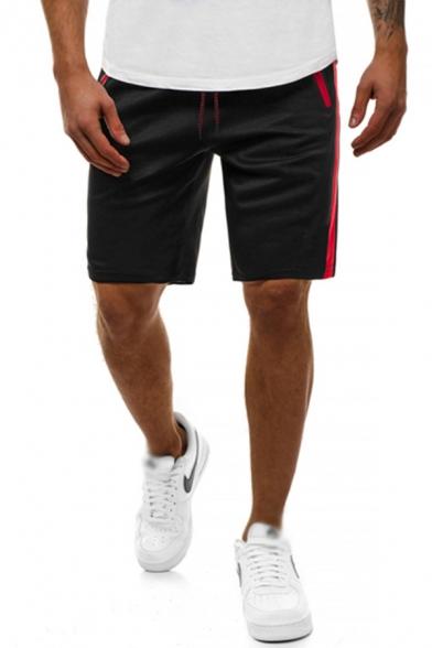 Trendy Mens Tape Zip-Pocket Straight-Leg Track Shorts with Pockets