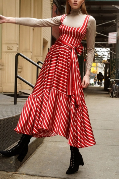Womens Summer Trendy Striped Printed Bow-Tied Waist Maxi Swing Cami Dress in Red