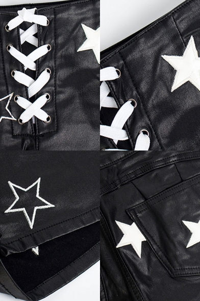 Black Vintage Womens Shorts Star Pattern Lace-up Front PU Leather Stretch Slim Fitted Mid Waist Relaxed Shorts