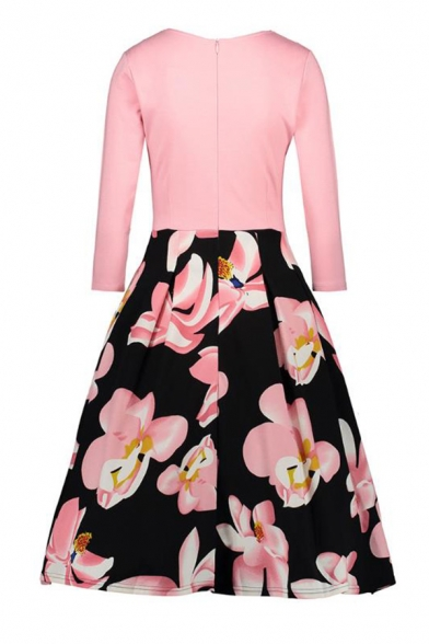 Chic Floral Pattern Round Neck 3/4 Length Sleeve Flare and Fit Midi Dress