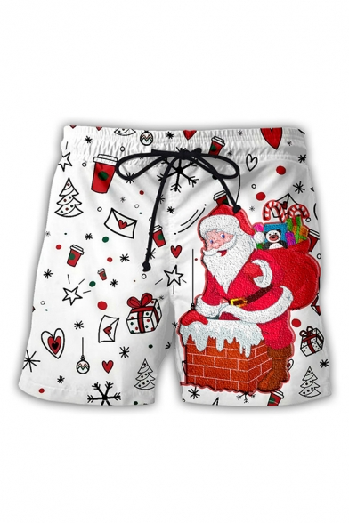 Cool Mens 3D Shorts Father Christmas Moon Star Snowflake Gift Printed Drawstring Waist Regular Fitted Relaxed Shorts
