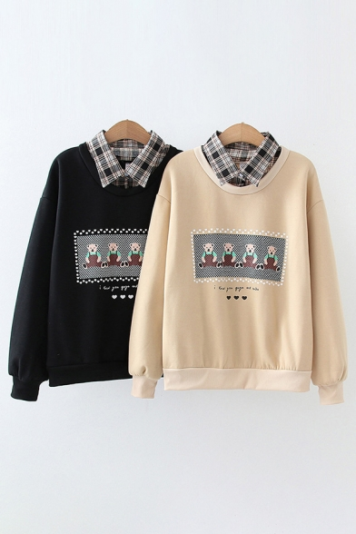 Fake Two Piece Bear Graphic Long Sleeve Plaid Point Collar Loose Preppy Looks Pullover Sweatshirt