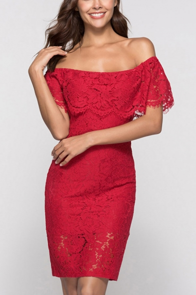 Graceful Solid Color Hollow Out Lace Backless Off the Shoulder Short Sleeve Midi Sheath Dress for Women