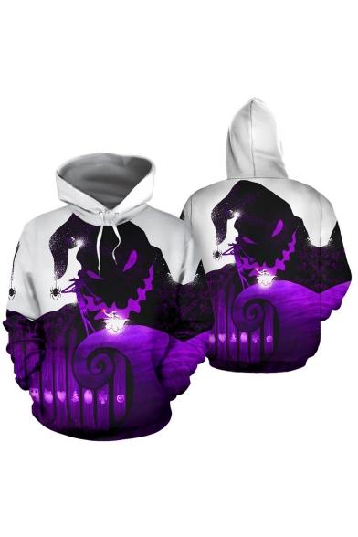 Popular Jack Skellington Green and Purple Comic Character 3D Printed Long Sleeve Pullover Hoodie